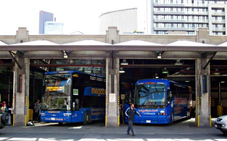 Megabus coaches at Metro Toronto Bus Terminal